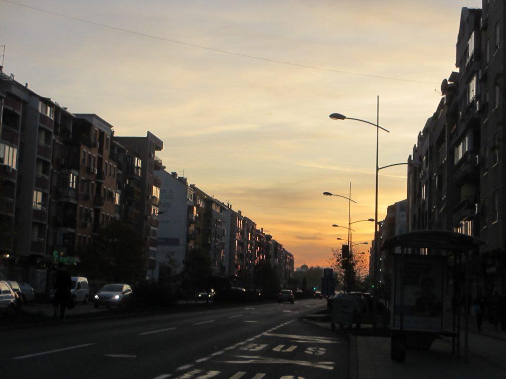 Недалеко от центра города, закат